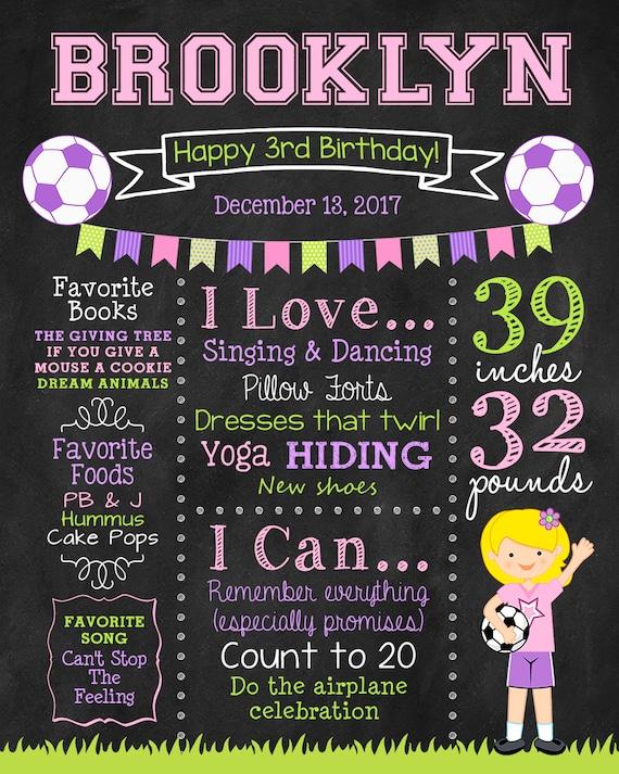 Pink 3rd Soccer Birthday Printable Poster Girl/'s Soccer Birthday Chalkboard Sign Digital Any Age 4th 5th Birthday Green