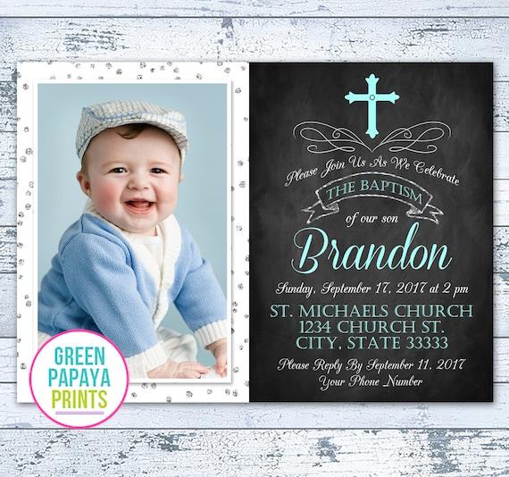 Boys Baptism InvitationBlue and Silver glitter Damask InvitationChristening InvitationprintableFirst Holy CommunionBlue Damask-Reid