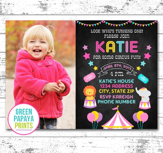Circus First Birthday Invitation For Girls Carnival Invite Any Age 2nd 3rd 4th Printable Digital File