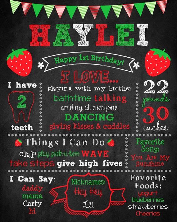 Berry First Birthday Chalkboard 540 Strawberry Decorations Birthday Editable Sweet Berry Birthday Milestones Sign