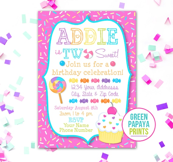 she s two sweet birthday invitation 2nd birthday cupcake candy