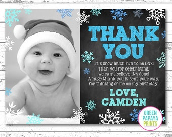 Winter Wonderland Thank You Card, Winter Onederland, Baby It's Cold Outside, Birthday Thank You Card, Digital File, Printable