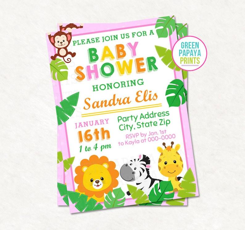 Animal Baby Shower Invitation Pink Printable Digital File image 0