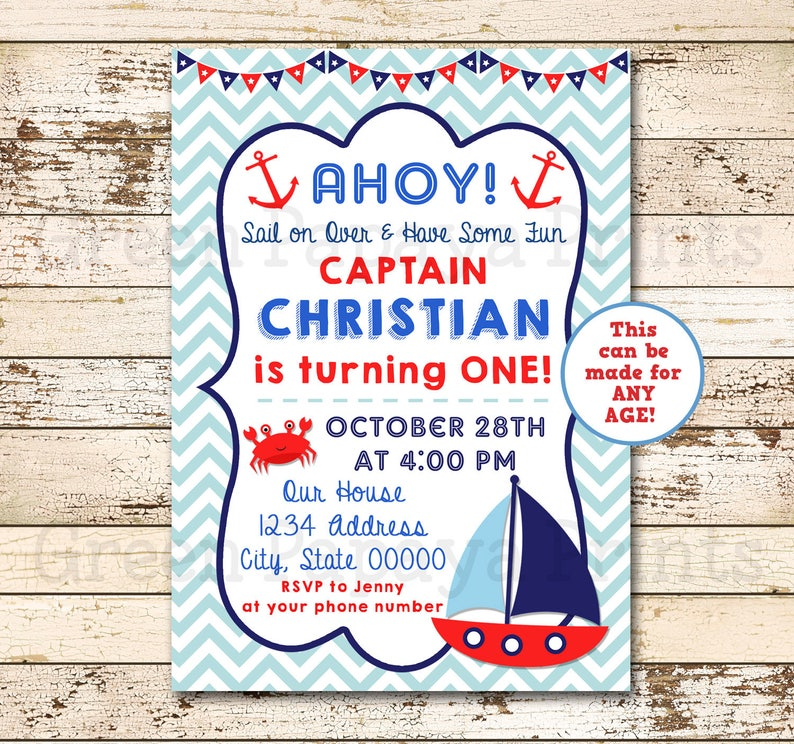 Nautical Birthday Invitation Sailboat O Fishally One 1st 2nd Crab Digital File Blue Red Boy Invite