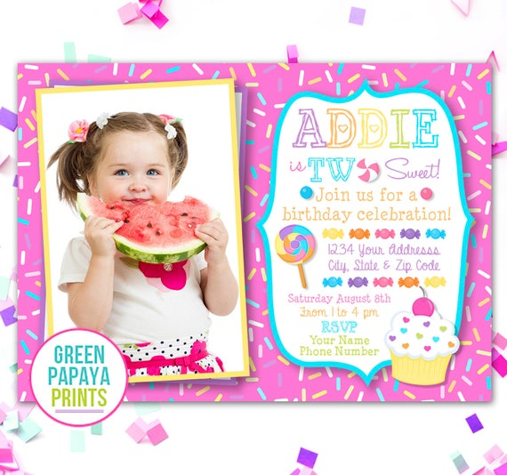 Shes Two Sweet Birthday Invitation Candy 2nd