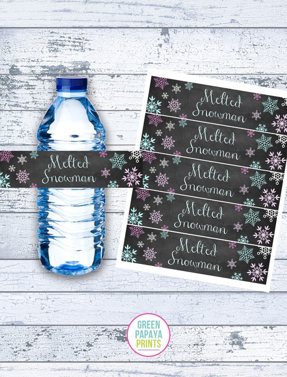 Melted Snowman Water Bottle Label Printable Snowflakes Winter