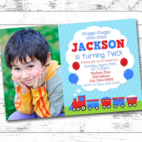 Train 2nd Birthday Invitation Printable Digital Any Age