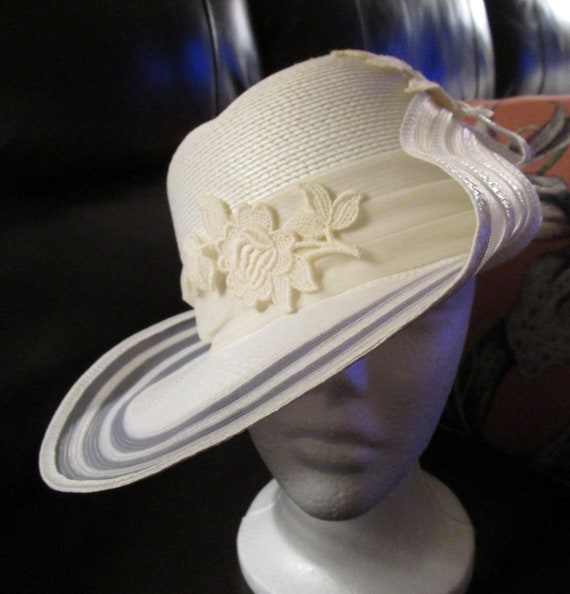 Sylvia Vintage White Church Hat Designed by Sylvia