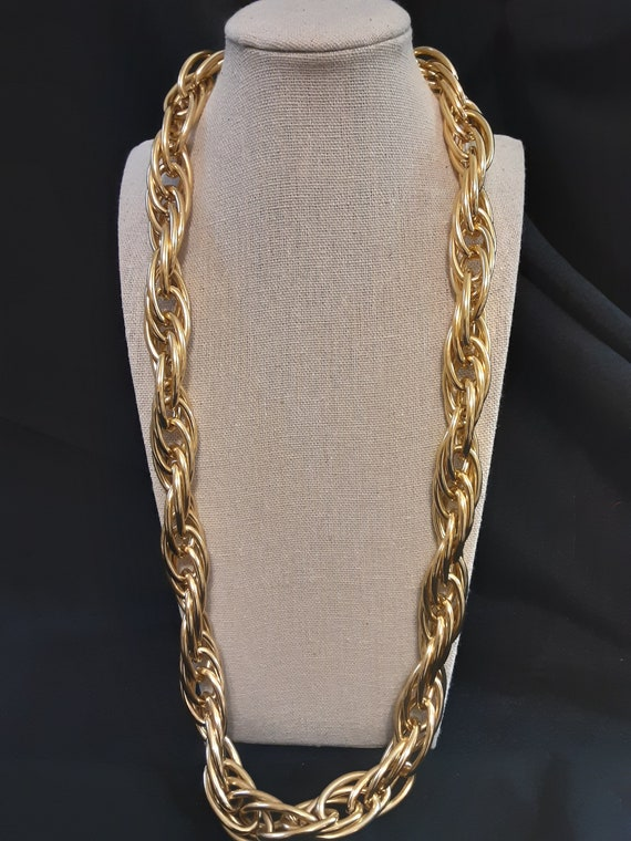 Silver Tone Large Textured Link Choker Necklace Unsigned 1980\u2019s