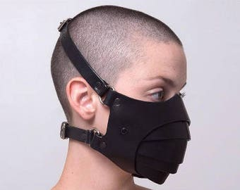 Segmented leather mask, leather respirator, black genuine leather, fetish, goth, cybergoth, cyberpunk