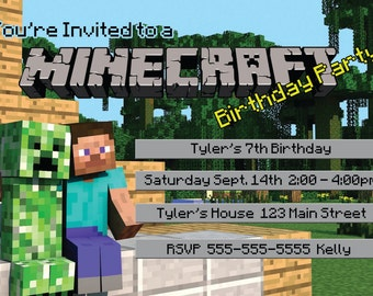 picture relating to Minecraft Birthday Invitations Printable known as Minecraft birthday invitation Etsy