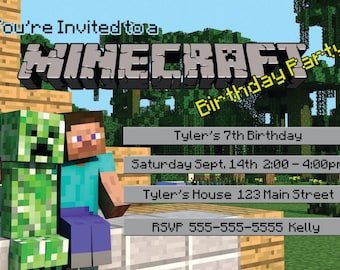 graphic regarding Minecraft Birthday Invitations Printable called Minecraft birthday invitation Etsy