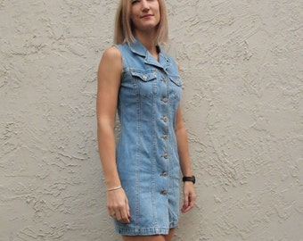90's Denim Mini Dress Chambray Blue Button Front Clueless Nineties Size Small