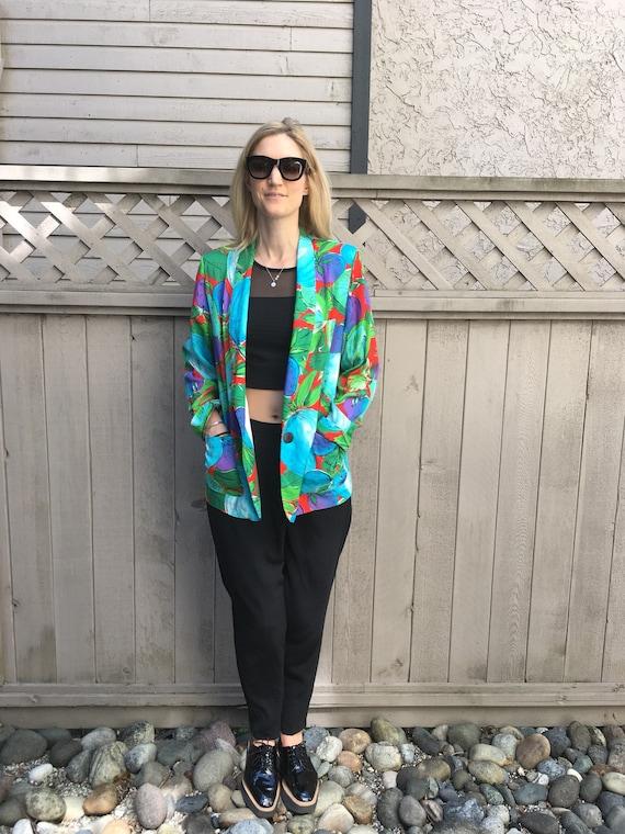 Bold print Blue & Green Unlined jacket