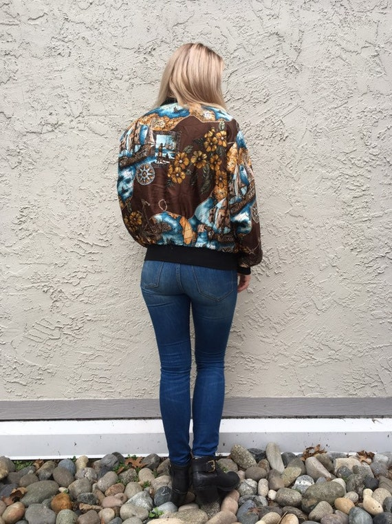 new styles buying now online for sale Reversible bomber jacket in Baroque scarf print
