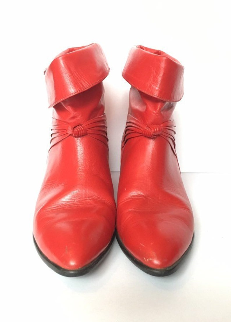 75cdbb2cdcb Size 7.5 Red ankle boots with folded top