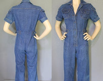 fc5ab2222b98 Vintage 70s Perfectly Worn Denim boho hippie BeLL BoTToM Wide Leg Flare  Snap Front Jean Jumpsuit