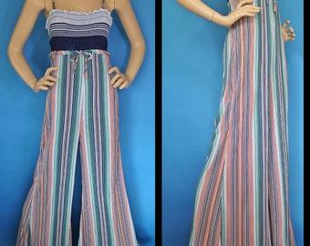 df90f96fc423 Vintage 70s Jumpsuit   Stripe Jumpsuit   Palazzo Jumpsuit   70s Disco    Bell Bottom Jumpsuit   Studio 54   vintage romper
