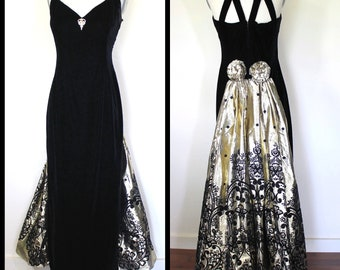 6ab2a7f0e09 Vintage Prom Party Gown   Dramatic Gold Sweeping Train   80s Party Dress    90s Gown   VINTAGE Prom Dress   Black VELVET   Scott McClintock M