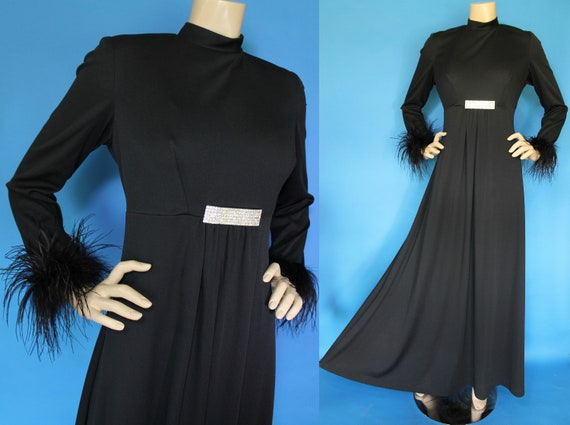 Vintage 60s 70s FEATHER Gown / Dramatic Ostrich Fe