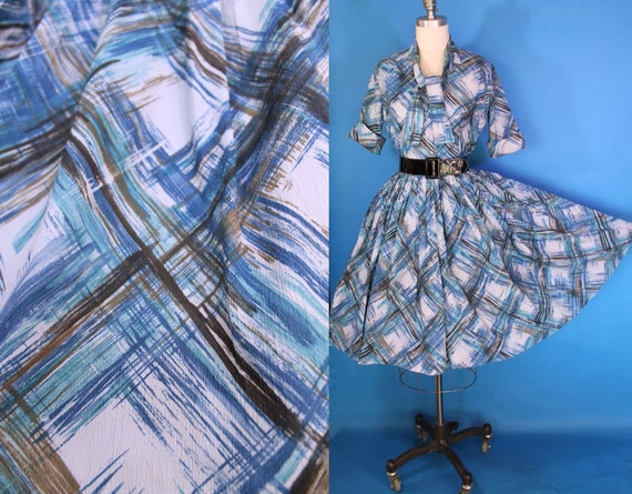 Vintage 50s Blue Dress / 50s Day Dress / 50s Full
