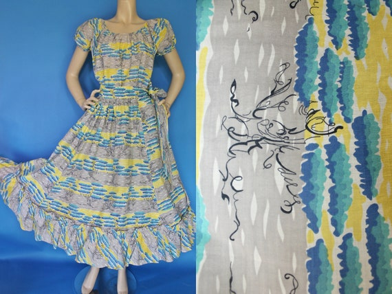 Amazing Vintage 50s Cotton 2 Piece SET /  Unusual