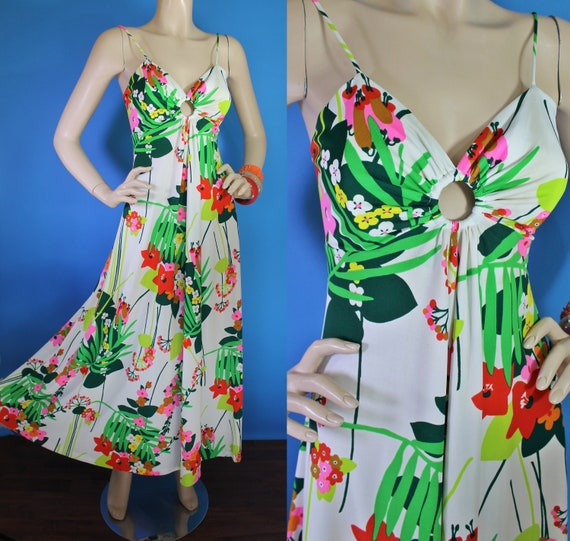 Vintage 70s Maxi Dress / 70s Hawaiian Sun Dress /