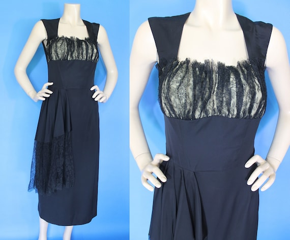 Vintage 40s Lace Rayon Cocktail Dress / 40s 50s Bo