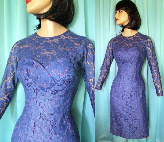 50s Blue LACE Hourglass Pin Up WIGGLE Dress / 50s