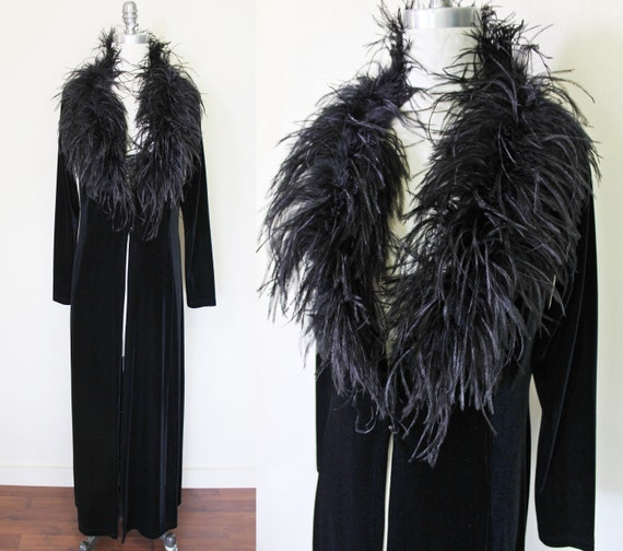 Vintage Black Ostrich FEATHER Jacket / Furry Feath