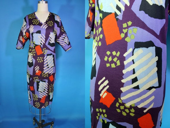 Vintage MISSONI 80s Funky Graphic Print Dress / Vi