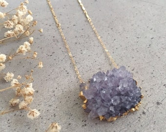 ASBY - Raw Amethyst Crystal Cluster Necklace | Boho Jewelry | Fine Jewelry | Long Necklace | February Birthstone | Standing O