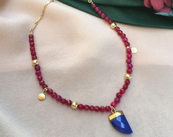 ASTI Lapis Lazuli Horn +  Agate Gemstone Gold Boho Necklace | Fine Jewelry | Gold Dot Necklace | Standing O