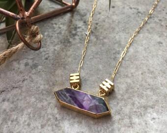 TULUM Geometric Bar Necklace | Rainbow Fluorite Gold | Layering Boho Fine Jewelry | Statement Necklace | Horizontal Crystal Necklace
