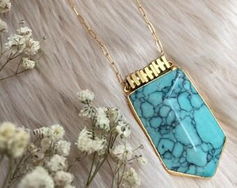 CARTAGENA Turquoise Shield Pendant Gold Statement Necklace | Festival Jewelry | Boho Necklace | Turquoise Jewellery | Turquoise Jewelry