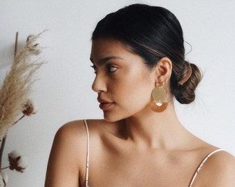 Tassel Statement Earrings - ST TROPEZ   Big Circle Statement Earrings   Rustic Modern Large Fringe Earrings   Boho Chic Half Moon Jewelry