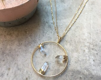 LINZ - Crystal Quartz Gold Circle Pendant Necklace | Fine Jewelry | Long Crystal Necklace | Statement Necklace | Multistrand Necklace