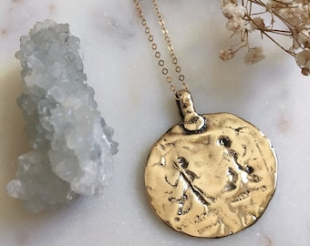 OMAN - Old World Coin Necklace | Long Necklace | Coin Necklace | Rustic | Layering Necklace | Gold Coin | Standing O
