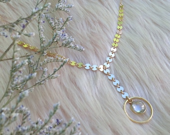 PIANA - Crystal Necklace, Fine Jewellery, Y Necklace, Lariat Necklace, Gold Necklace, Standing O, Dainty Necklace, Gold Chain, Crystal