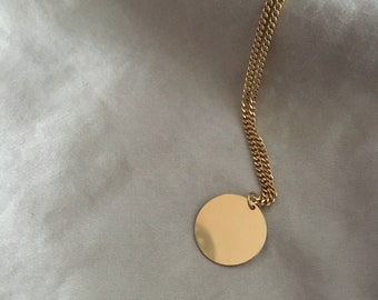 ALIA - Gold Coin Necklace | Shiny Thick Gold Chain Disc Medallion Necklace | Long Fine Jewelry | Circle Pendant | Simple Gold Layered