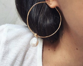 ISSOIRE Hoop Earrings | Big Hoops Gold Statement Earrings | Dangle Drop Endless Pearl Earrings | Large Minimal Charm Baroque | Fine Jewelry