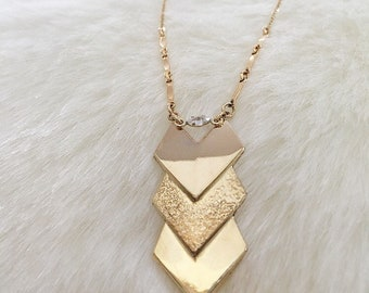 VENTURA Gold Chevron Crystal Necklace | Layered Necklace | Boho Arrowhead  Jewelry | Fine Jewelry