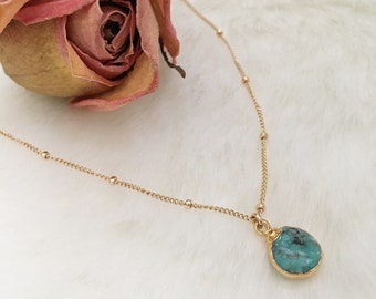 ENNA Turquoise Necklace | Dainty Turquoise Gold Pendant | Layered Jewelry | Dainty Gold Choker Chain