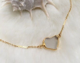 CASPAR Raw Sea Glass Gold Necklace | Dainty Gold Layered Necklace | Thin Gold Filled Chain | Beach Boho Crystal Necklace