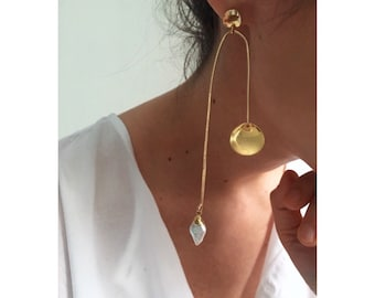 OSS Statement Earrings | Organic Mobile Dangle Drop Gold Pearl Earrings | Large Big Modern Contemporary Boho Jewelry | Fine Jewelry