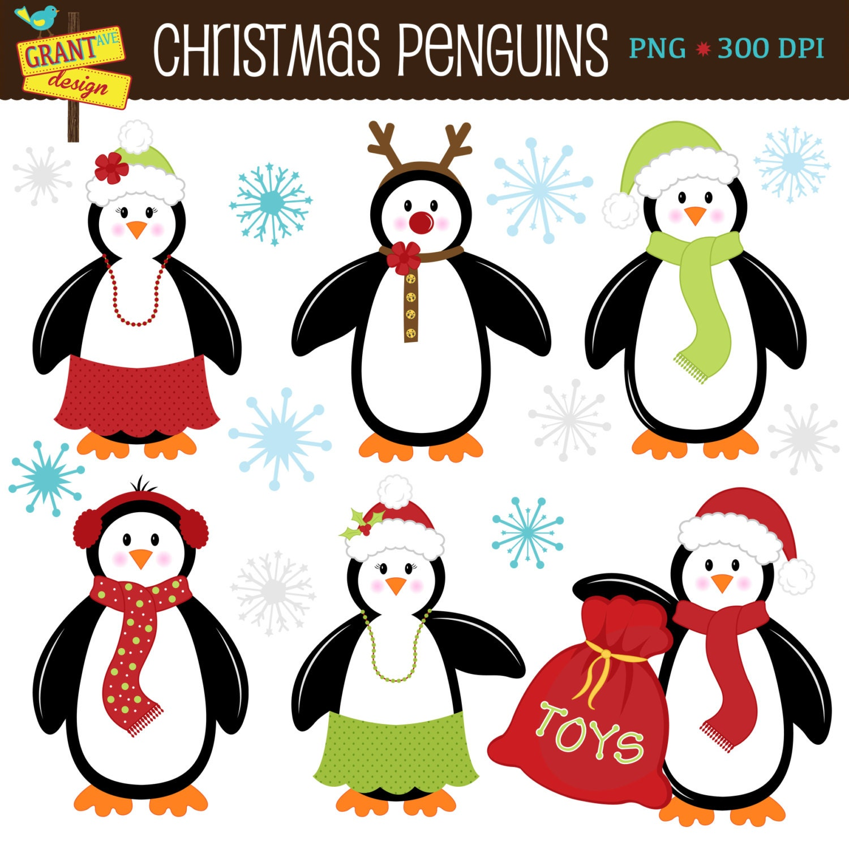 Penguin Clipart Christmas Penguin ClipArt Cute Digital   Etsy