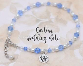 Beaded Boho Anklet Graduation Gift for Daughter Something Blue for Bride Tutor Birthday Gift Sterling Silver Blue Bead Anklet