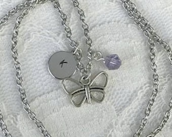 Butterfly charm necklace, Personalized charm necklace, Hand-stamped jewelry, Custom necklace, Birthstone necklace