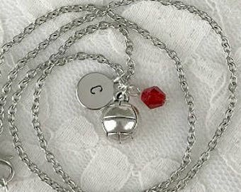 Volleyball charm necklace, Personalized charm necklace, Hand-stamped jewelry, Custom necklace, Birthstone necklace