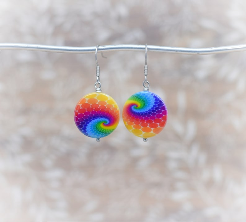 Tie dye dangle earrings Swirl tie dye earrings Colorful image 0